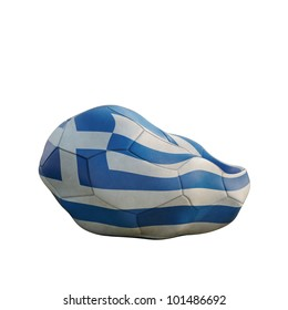 greece deflated soccer ball isolated on white