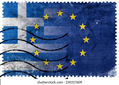 Greece and European Union Flag - old postage stamp