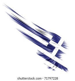 The Greece flag on Abstract wing and white background