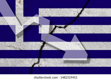 Greece Flag on the cracked wall with arrow falling down. Concept of decrease in the country.
