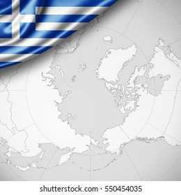 Greece flag of silk with copyspace for your text or images and world background -3D illustration