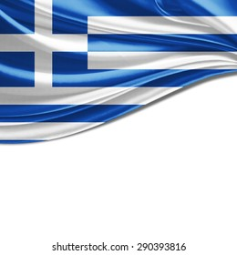 Greece flag of silk and white background