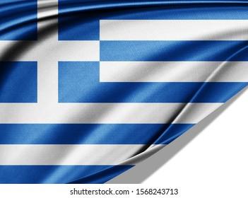 Greece flag of silk-3D illustration
