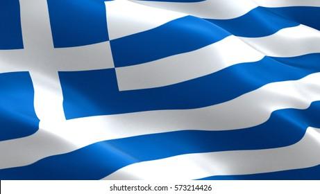 Greece flag. Waving colorful Greece flag