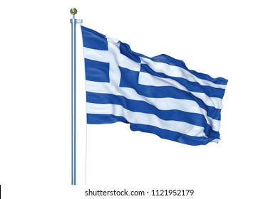 Greece flag waving on white background, isolated