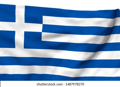 Greece flag is waving in the wind. 3D illustration fabric texture with white background