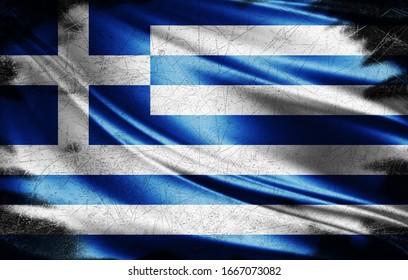 Greece grunge flag of silk-3D illustration