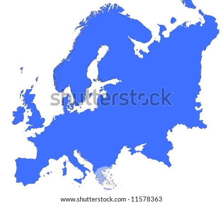 Greece Location Europe Map Mercator Projection Stock Illustration