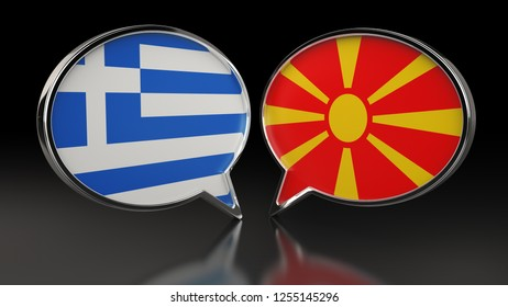 Greece and Macedonia flags with Speech Bubbles. 3D illustration