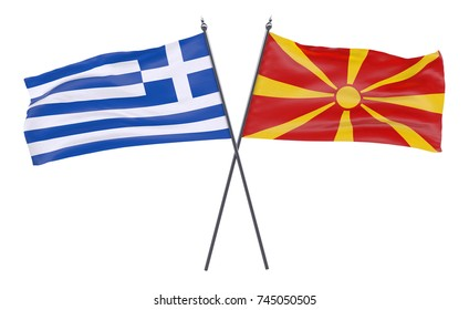 Greece and Macedonia, two crossed flags isolated on white background. 3d image