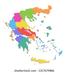 Greece map, new political detailed map, separate individual regions, with state names, isolated on white background 3D blank raster