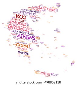 Greece map silhouette word cloud with most popular travel destinations