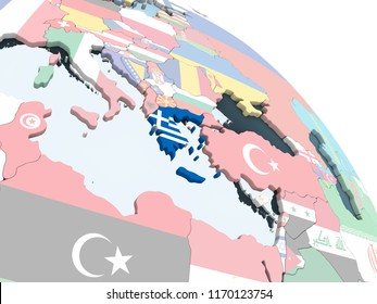 Greece on bright political globe with embedded flag. 3D illustration.