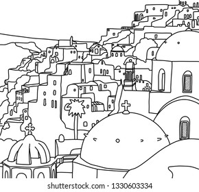 Greece Santorini Island Illustration