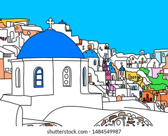 Greece Santorini Island Illustration, Drawing, coloring