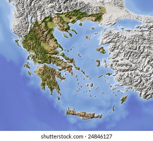 Greece. Shaded relief map with major urban areas. Surrounding territory greyed out. Colored according to vegetation. Includes clip path for the state area.