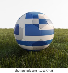 greece soccer ball isolated on grass