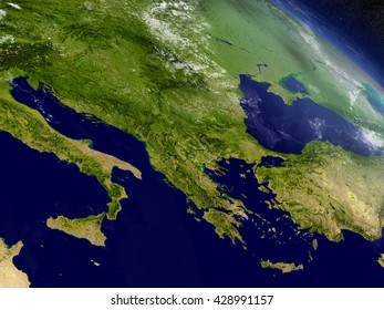 Greece with surrounding region as seen from Earth's orbit in space. 3D illustration with highly detailed planet surface and clouds in the atmosphere. Elements of this image furnished by NASA.