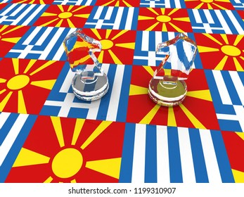 Greece vs Macedonia. Political and economic relations and conflicts between this countries. 3D rendering