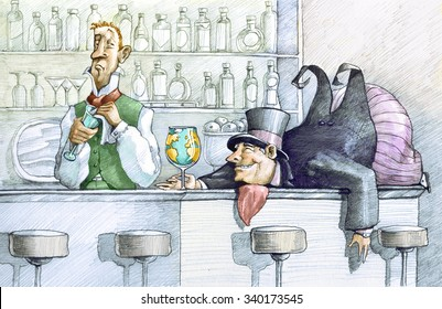 a greedy drunk fat man lying on a bar counter holding a glass globe, the bartender looks at him with undisguised enough
