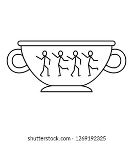 Greek ancient bowl icon. Outline greek ancient bowl icon for web design isolated on white background