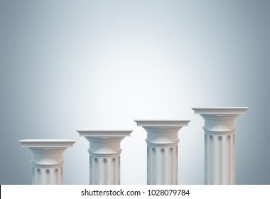 Greek columns of different heights standing against a gray background. Concept of financial growth. 3d rendering mock up
