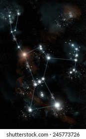 The Greek constellation Orion the Hunter is drawn in blue against the night sky. The red super giant star Betelgeuse shines at the shoulder while Rigel is the brightest star at the lower right.