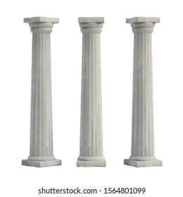 Greek Doric Columns, 3D Rendering, 3D Illustration