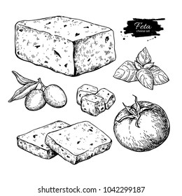 Greek feta cheese block, slice drawing. hand drawn food sketch with olive, basil, tomato. Greek salad ingredient.