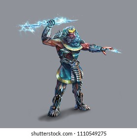 Greek god. Zeus. character. lightning. metal armor. sci fi man. cyborg. future. cyber punk