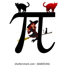 The Greek letter pi with two cats and a witch in halloween,