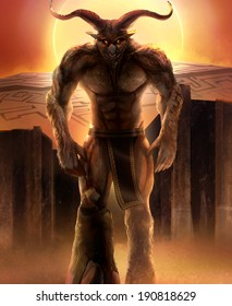 Greek monster Minotaur walking with concrete stone maze with sunset background Illustration.