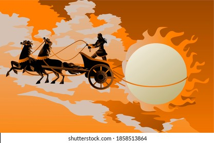 greek mythology apollo with chariot and the sun