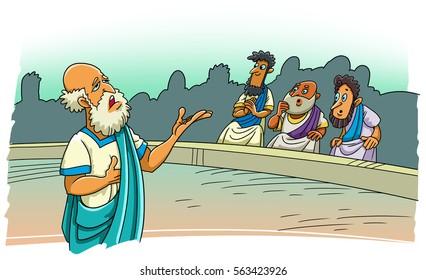 The Greek philosopher speaks in the stadium