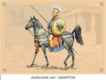 Greek rider. Handmade historical illustration.