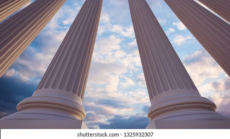 Greek or Roman columns, wide angle 3d architectural visualization