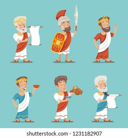 Greek Roman Retro Vintage Character Icon Cartoon Design  Illustration