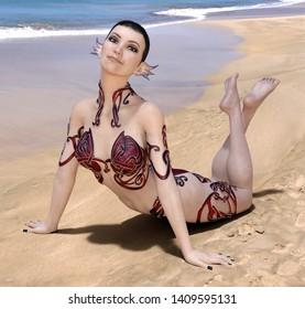 Greek sea nymph Computer generated 3D illustration