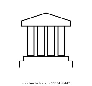 Greek temple icon on white background