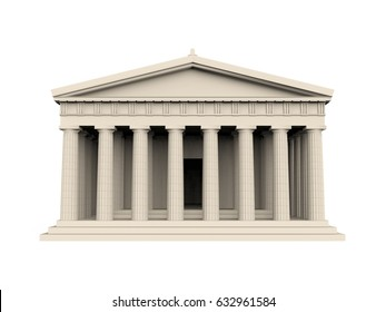 Greek Temple Isolated. 3D rendering