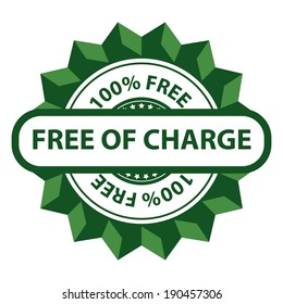 Green 100 Percent Free of Charge Icon, Sticker, Label or Badge Isolated on White Background