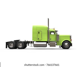 Green 18 wheeler truck - no trailer - side view - 3D Illustration