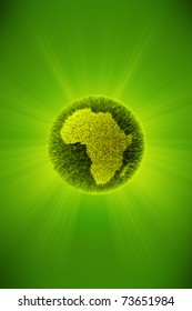 Green 3d planet concept, map of Africa