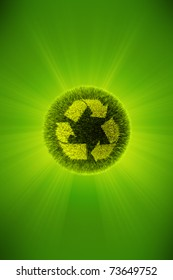 Green 3d planet concept of recycling