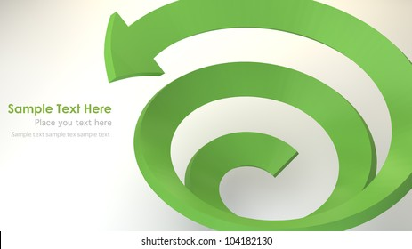 Green 3D spiral arrow