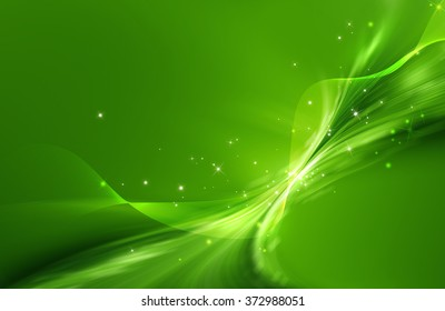 Green abstract background with mesh and curled shape and glittering effect