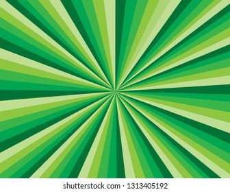 Green abstract burst of rays. Perspective with concentration lines.  Groovy, psychedelic St. Patrick's Day background.