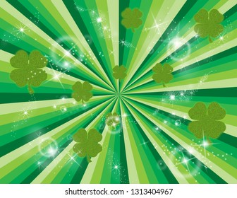 Green abstract burst of rays with shimmering shamrocks and shining stars. Perspective with concentration lines.  Groovy, psychedelic St. Patrick's Day background.