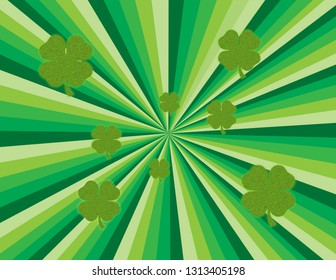 Green abstract burst of rays with shimmering shamrocks. Perspective with concentration lines.  Groovy, psychedelic St. Patrick's Day background.
