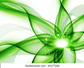 green abstract flower on a white background